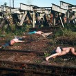 [Fig.61] Czeslovac Lukensas. (1988) Thrown Out Students. Railway Line near Kaunas. (Photo: The artist.)