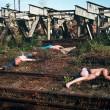 [Fig.61] Czeslovac Lukensas. (1988) Thrown Out Students. Railway Line near Kaunas. (Photo: The artist.)